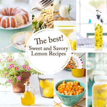 Collage of recipe photos with text reading lemon recipes.