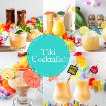 Collage of tiki cocktails.