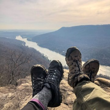 Feet on an overlook over the Tennessee River.