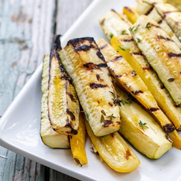 Platter of grilled zucchini.