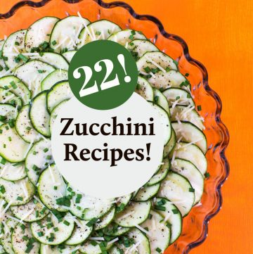 Zucchini salad with text overlay.