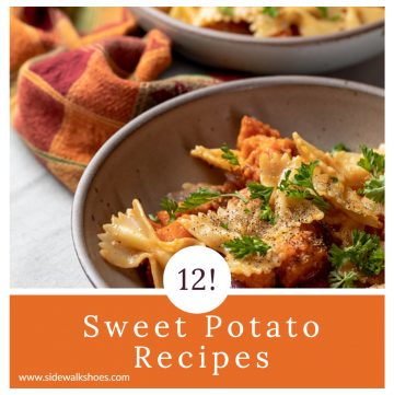 Sweet potatoes with pasta with a text overlay.